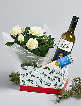 Festive White Wine & Rose Plant Hamper