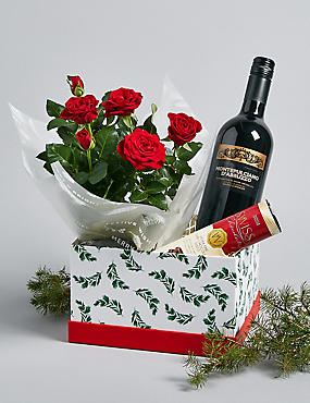 Festive Red Wine & Rose Hamper