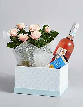 Rose Wine, Rose Plant & Swiss Chocolates Hamper