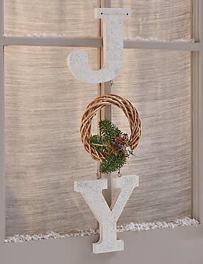 Postal Door Joy Wreath