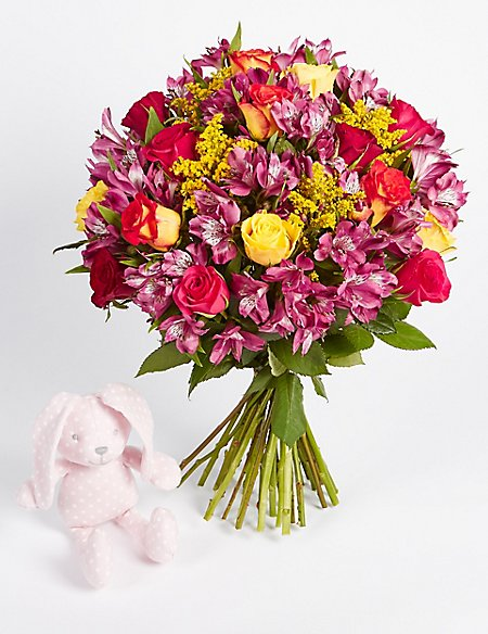 Fairtrade® Autumn Bouquet with Pink Bunny