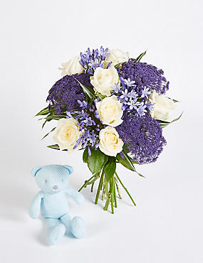 Sapphire Bouquet with Blue Bear