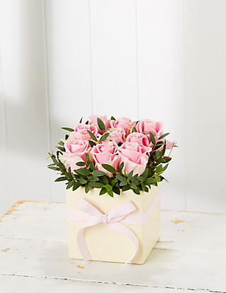 Mother's Day Pink Rose Cube Flowers
