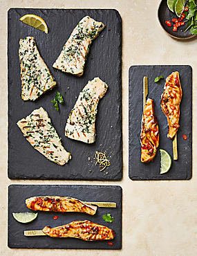 Sticky Salmon Skewers & Lemon & Herb Flatties
