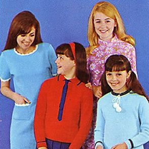 Catalogue image from the 1960s of woman and children in colourful clothes