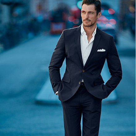 Man wearing smart navy suit