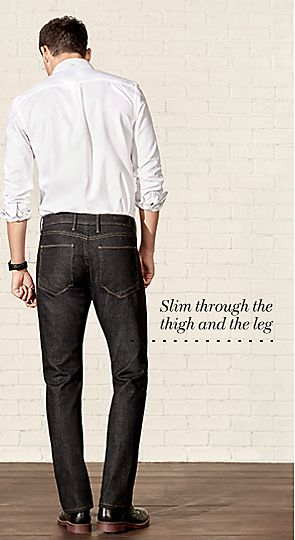 Man wearing slim fit jeans