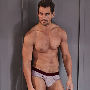 David Gandy in white and red underwear