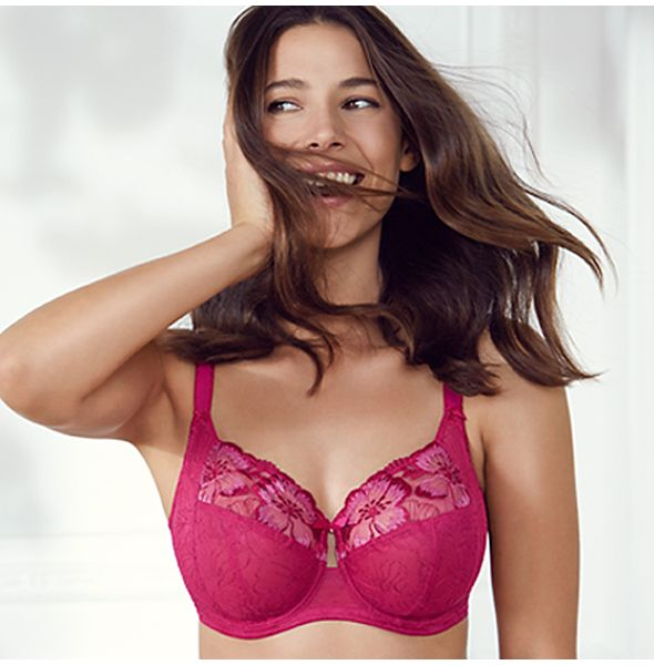 Model wearing Pink Floral Lace Bra