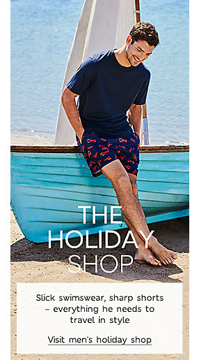 Man in printed swim shorts and cotton t-shirt