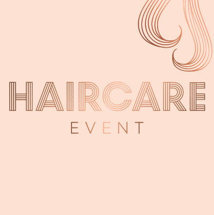 Pink background with the words 'haircare event' written on it
