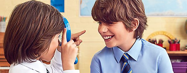 Boys wearing M&S school uniform