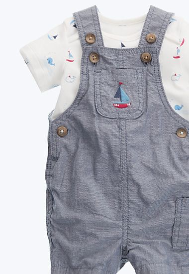 Blue dungaree set with white vest
