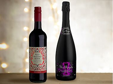 Bottles of mulled wine and kir royale