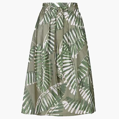 Cotton rich palm print midi skirt
