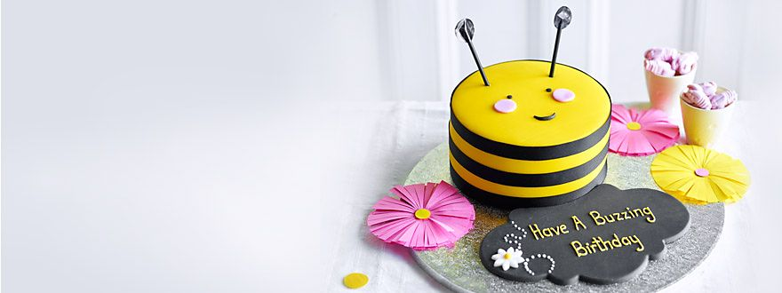 Children's birthday bee cake