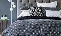 Patterned bedding and pillows