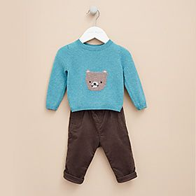 Bear jumper and corduroy trousers