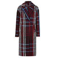 Checked Coat in navy mix
