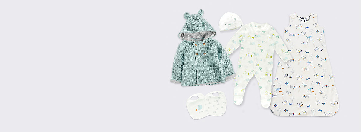 Baby grow, baby cardigan and baby sleeping bag