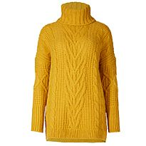 Gold cable-knit turtleneck jumper