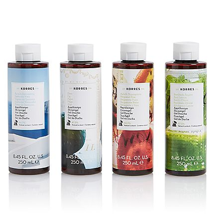 Collection of Korres shower gels on a white background