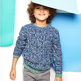 Boy in blue cable jumper