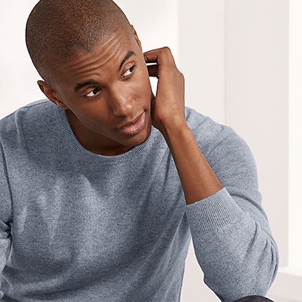 Man wearing blue cashmere jumper