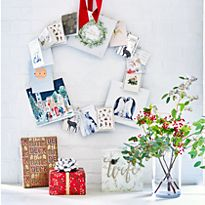 Christmas cards arranged in a circular display