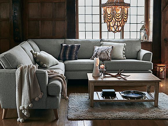 Copenhagen corner sofa with throws and cushions