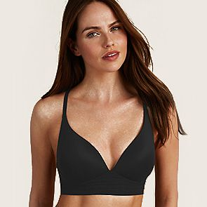 Black cotton plunge bra