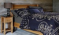Bedding on a Sonoma wooden bed