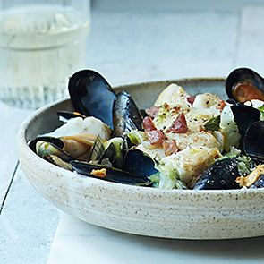 Pan fried haddock with mussels, braised sweetheart cabbage and pancetta recipe