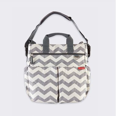 Grey and white print hospital baby bag