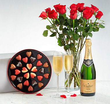 Valentine's champagne, chocolates and a dozen roses