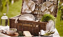 A hamper and picnicware