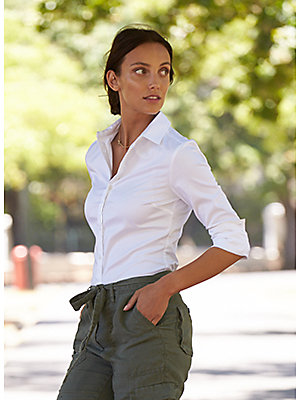 Woman modelling khaki trousers