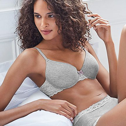 Model wearing a grey bra and knickers