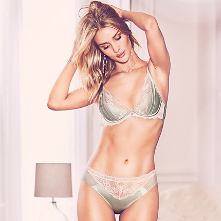 Rosie Huntington-Whiteley wearing pale-green lace and silk bra and knickers