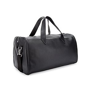 Black mens leather holdall bag