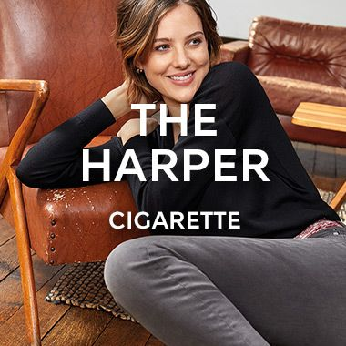 Woman wearing The Harper Cigarette jeans