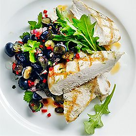 Chargrilled chicken with blueberry salsa recipe