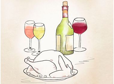 Illustration of wine bottle, glasses and a turkey
