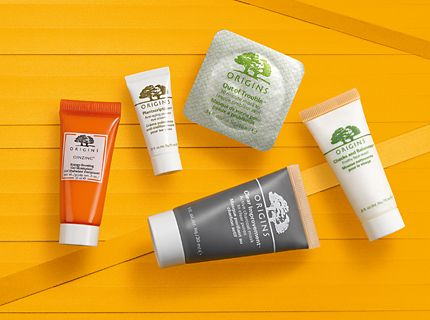 Origins skin care minis on a yellow background