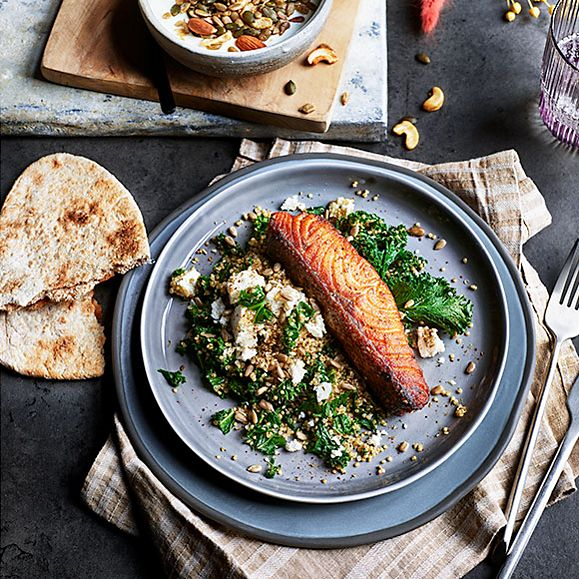 Salmon with quinoa and kale