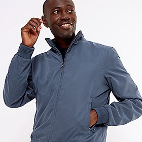 Man wearing Big & Tall bomber jacket