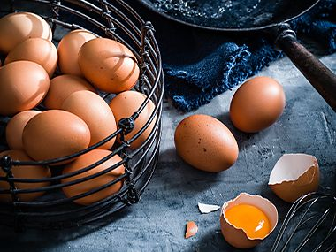 Free-range eggs in a basket