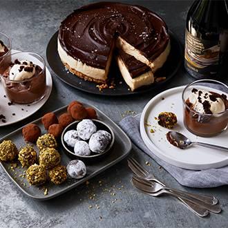 White chocolate cheesacake, festive truffles and chocolate mousse