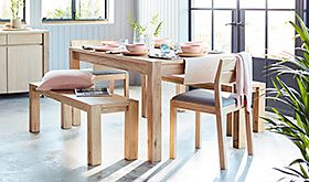 Paxton wooden dining table with dining chairs and bench