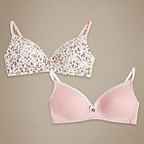 Flower print bra and pink bra